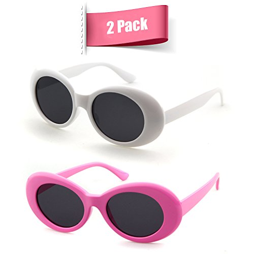 Bold Retro Oval Mod Thick Frame Sunglasses Clout Goggles with Round Lens (White&Pink, 51)]()