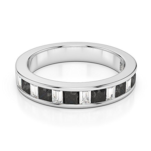 G-H/VS 0,40 CT Coupe Princesse et baguette sertie de diamants Noir avec diamants en platine 950 Agdr-1143