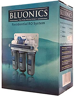 BLUONICS 5 Stage Undersink Reverse Osmosis Drinking Water Filter System RO Home Purifier with NSF Certified Membrane and Clear Housings