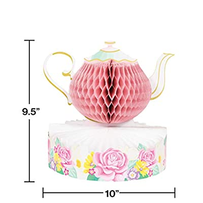 Floral Themed Tea Party Supplies: Bundle Includes Paper Dessert Plates & Napkins for 16 Guests Plus a Tablecover, Centerpiece, Hanging Coutouts, and Happy Birthday Banner: Health & Personal Care