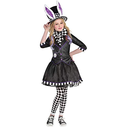 Party City Dark Mad Hatter Costume for Children, Size Large, Includes a Dress with Jacket, Tights, a Bow Tie, and a Hat -