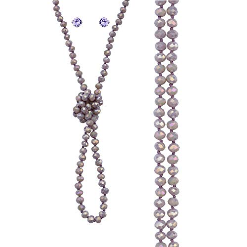 NOVAS Lavender Necklaces and Cubic Zirconia Post Earrings for Women Light Purple Crystal Endless Multi Row Statement Necklace Lavender Jewelry Set Gift Idea for Your Girl Wife Mother