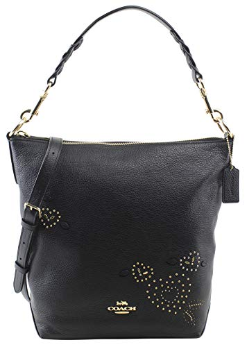 Coach Women's Abby Duffle With Heart Bandana Rivets Shoulder Handbag in Black, Style F46287