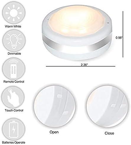 Starxing runde LED-Lichter mit Fernbedienung, kabellos, batteriebetrieben, dimmbar, Unterschrankbeleuchtung, 4000 K, natürliches Weiß