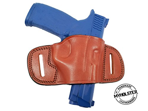 OWB Molded Leather Belt Slide Holster for Glock 26,27,33 (Brown/Black) (Brown)