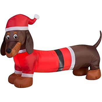 Gemmy Airblown Christmas Inflatables Snowflakes, 4' (Wiener Dog)