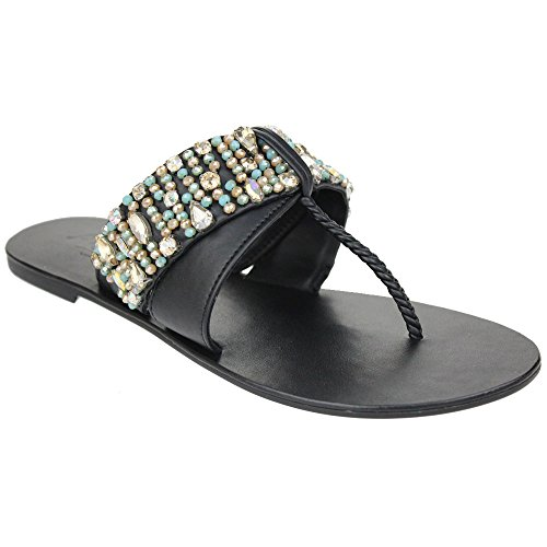 Aarz señoras de las mujeres de la tarde Cristal Diamante Comfort Casul plana Slip-On sandalia de cuero Tamaño de los zapatos (Negro, Tan) Negro