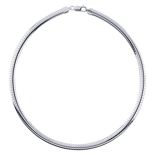 - 6mm Sterling Silver Omega Necklace Chain - 16 Inches
