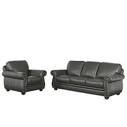 Amazon.com: Abbyson Living Austin 2 Piece Leather Sofa Set ...