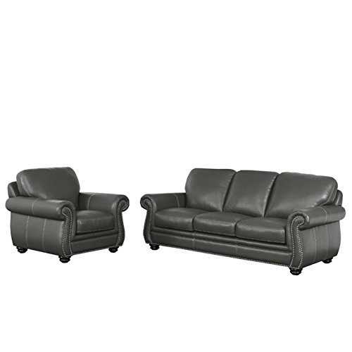 Abbyson Living Austin 2 Piece Leather Sofa Set in Gray price