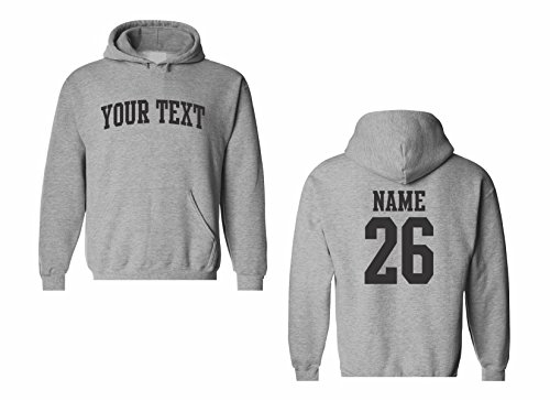 Men's Custom Personalized Hooded Sweatshirt, Front Arched text,