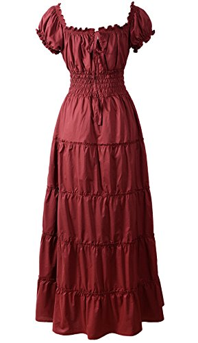 ReminisceBoutique Renaissance Dress Costume Pirate Peasant Wench Medieval Boho Chemise (Regular, Burgundy) (Off Shoulder Peasant Dress)