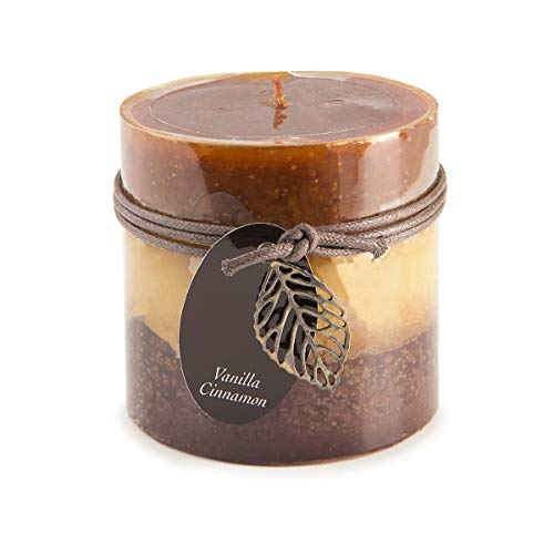 (Dynamic Collections Layered Pillar Candle: 4 x 4 inches, Cinnamon Vanilla, 1 Piece)