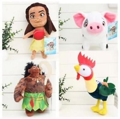 New 4pcs/set New Moana Maui Heihei pet pig Pua Soft stuffed Plush Toy Doll Movie