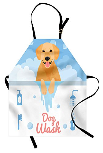 Ambesonne Golden Retriever Apron, Dog Washing in Bathtub Cartoon Foam and Soap Hygiene, Unisex Kitchen Bib Apron with Adjustable Neck for Cooking Baking Gardening, Orange Blue