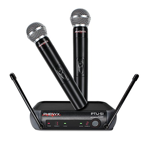 (Dual Wireless Microphone System, Phenyx Pro UHF Wireless Mic Set With 2 Handheld Mics, Portable Size, Fixed Frequency, Interference-free, Long Hour, Ideal for Church, Karaoke, Parties(PTU-51A))