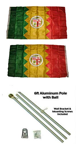 ALBATROS 3 ft x 5 ft City of Los Angeles California 2ply Flag Aluminum Pole Kit Ball Top for Home and Parades, Official Party, All Weather Indoors Outdoors
