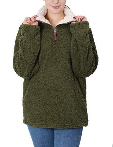Fleece Sherpa Pullover Womens Sweatshirt Long Sleeve Soft Fuzzy Outwear Sweater Jacket 1/4 Zip Hoodie Coat with Pockets Army Green XL ()