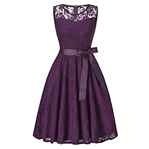 IWEMEK Women Vintage V Neck Floral Lace Wedding Bridesmaid Party Dress Short Prom Formal Evening Cocktail Swing Dress