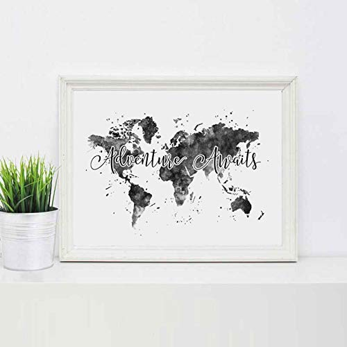 Watercolor Print Adventure Awaits The World Map Painting Watercolor Art Print Travel Quote Wall Decor Black and White Wall Hanging Poster 8x10 inch No Frame (Black And White Map)