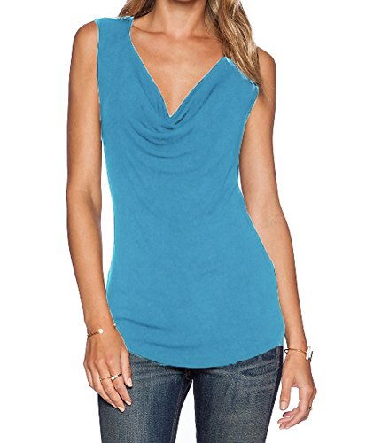 Sarin Mathews Women's V Neck Ruched Sleeveless Sexy Blouse Stretch Tank Tops Blue S