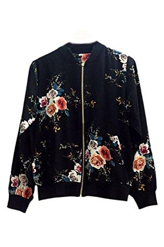Bomber Up Black Stand Mujer Elegante Floral Collar Full Es Chaqueta Jumojufol Print La Zip Hw7Ovx