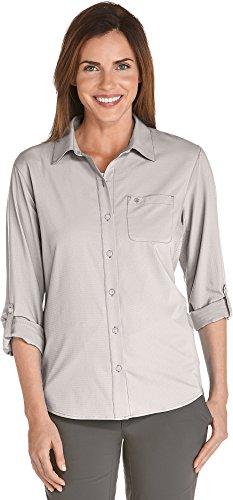 Coolibar UPF 50+ Women's Sun Shirt - Sun Protective (2X- Stone Grey)
