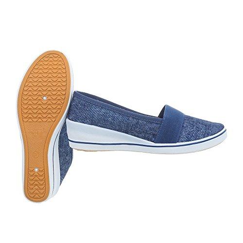 Ital-Design Women's Loafer Flats Wedge Heel Slippers Blue Zy1710 JWkpvIpI