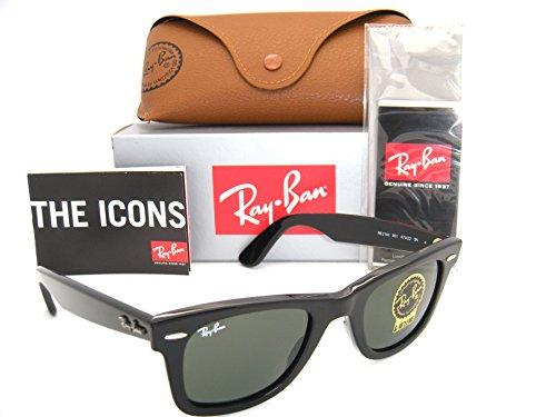 Authentic Ray-Ban Wayfarer RB 2140 901 47mm Black Frame W/ Green Lenses - A Ray Ban 2140