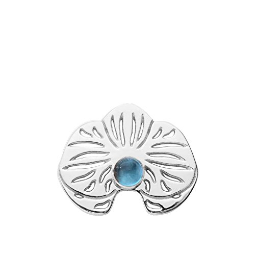 Brooch Bezel Silver Sterling (MB Michele Benjamin LLC Jewelry Design Sterling Silver Blue Topaz Orchid Lapel Pin Brooch)