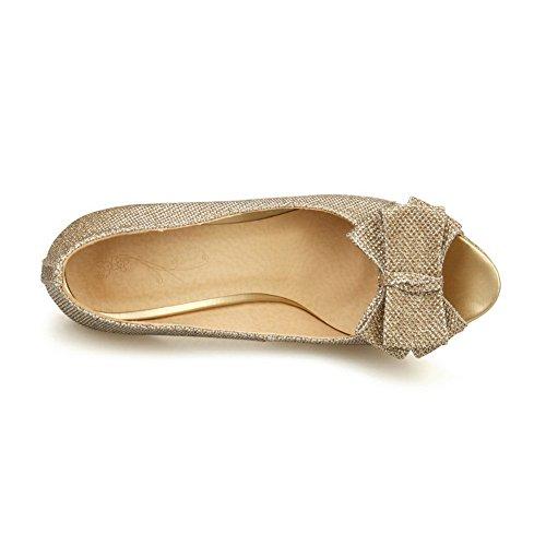 1TO9 Womens Peep-Toe Composite Pull-On Polyurethane Sandals Gold acFnIR