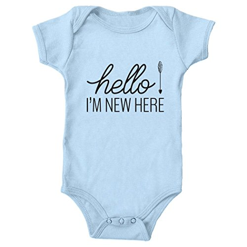 Tickled Teal Hello I'm new here Baby Onesie Blue 6-12 months (Im New Here Onesie)
