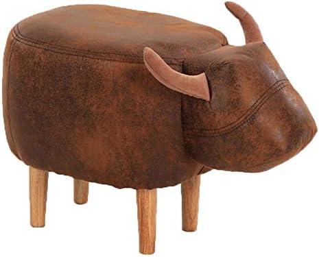 収納ベンチ クリエイティブ動物のパーソナリティ低スツール牛の靴スツールソリッドウッドフットファッションお座り桟橋ノベルティソファスツール 柔軟 多用途 (Color : Brown, Size : 63x33x36cm)