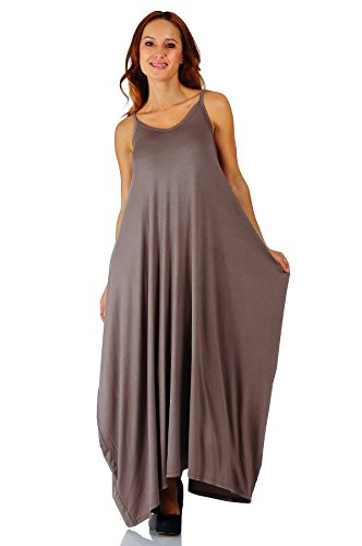 [Simply Ravishing Rayon Span Maxi Boho Harem Spaghetti Strap Dress, 2X, Coco] (Plus Size Maxi Dresses)