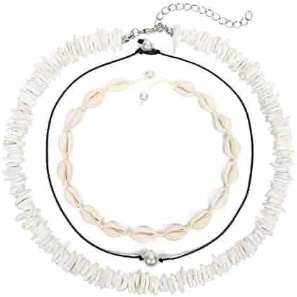 Ufond Puka Shell Necklace for Women Men Boho Tropical Hawaiian Beach Puka Chips Shell Surfer Choker Necklace Jewelry (3 Strands Choker Set)