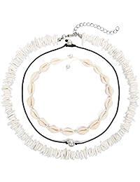 Puka Shell Necklace for Women Men Boho Tropical Hawaiian Beach Puka Chips Shell Surfer Choker Necklace Jewelry (3 Strands Choker Set)