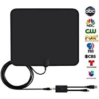 HDTV Antenna, Indoor Digital TV Antenna for 50 Miles Reception Range - NISGEAR Amplified Smart TV Antenna with Detachable Signal Booster and 10ft Coaxial Cable, Black