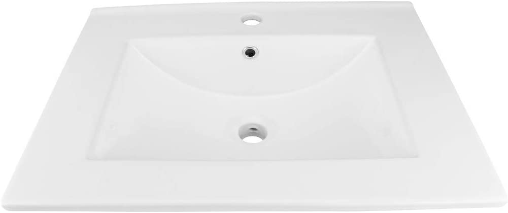 Bathroom Drop In Sink Square White Self-Rimming Grade A Vitreous China With Single Faucet Hole And Overflow Renovators Supply Manufacturing