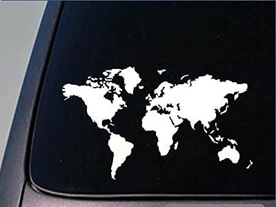 """Global World Map Atlas Vinyl Wall Art Decal Sticker 5.5""""x9.5"""" *D744*"""
