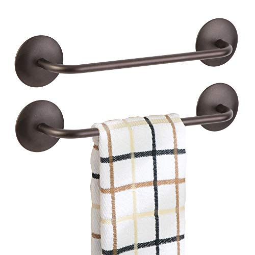 (mDesign Decorative Metal Small Towel Bar - Strong Self Adhesive - Storage and Display Rack for Hand, Dish, and Tea Towels - Stick to Wall, Cabinet, Door, Mirror in Kitchen, Bathroom - 2 Pack - Bronze)
