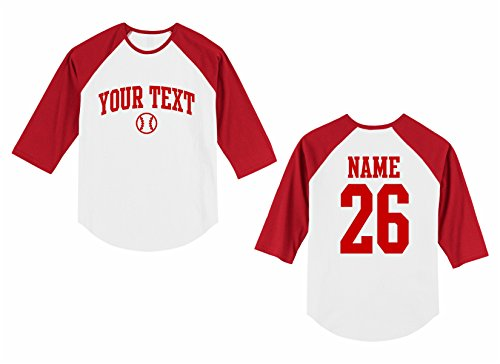 - Toddler Custom Personalized Raglan 3/4 Sleeve Shirt, Baseball Arched Text, Back Name & Number