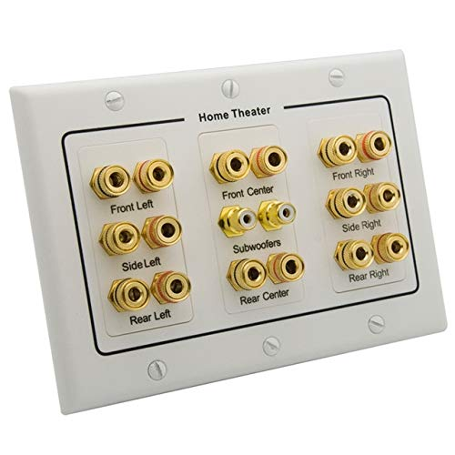Laliva Plugs - 3 Gang Home Theater 6.1 7.1 7.2 8.2 9.0 Surround Sound Speaker Wall Plate With HDMI RCA Audio Banana Sound Box Face Plate - (Standard: 1 PACK, Color: 8.2) ()