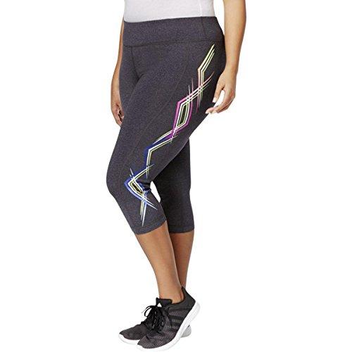 Ideology Womens Plus Stretch Printed Crop Leggings Gray 1X