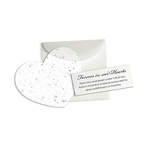 - Memorial Plantable Heart Note Favor - White - 100 Pack