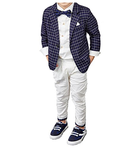 YUFAN Boys Spring Summer Casual Suit Set Green/Navy Plaid Jacket and Pants 2 Pcs (8, (Kids Green Blazer)