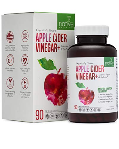 Organic Apple Cider Vinegar Capsules – Premium Health Supplement for Weight Loss, Appetite Suppressant, Digestive Health - with Bioperine, Cayenne Pepper and Time Release Pills for Max Absorption.