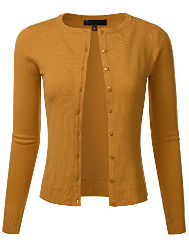 FLORIA Women's Slim Fit Long Sleeve Button Down Crew Neck Knit Cardigan Sweater Bronze L
