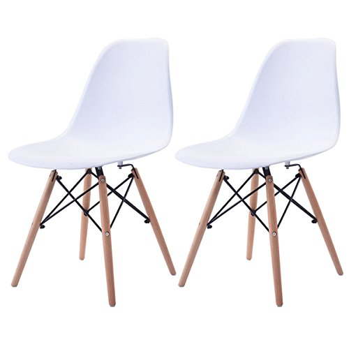 COSTWAY Set of 2 Mid Century Modern Eames Style DSW Dining Side Chair Wood Leg