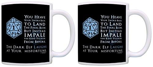 Gamer Gifts D20 Critical Fail Dark Elf Laughs Chaotic Neutral 2 Pack Gift Coffee Mugs Tea Cups Black