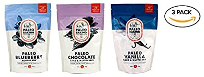 Paleo Baking Company - 3 Pack Variety - Paleo Chocolate Cake & Muffin Mix, Paleo Vanilla Cake & Muffin Mix, Paleo Blueberry Muffin Mix